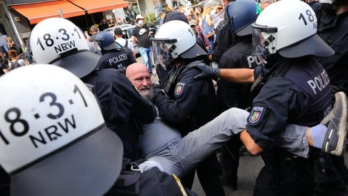 Police removed a number of people from the protest in Berlin