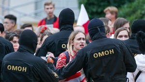 Demonstrators confront police in the Belarusian capital Minsk today as protests continue following election result