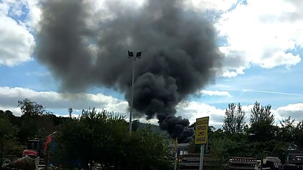 Smoke billows from the blaze at West Link, Togher Industrial Estate in Cork (Pic: Matthew Moynihan)
