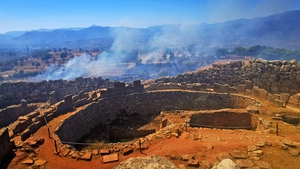 Smoke has covered the Bronze Age archaeological site of Mycenae, Peloponese, Greece, after a fire broke out near there today
