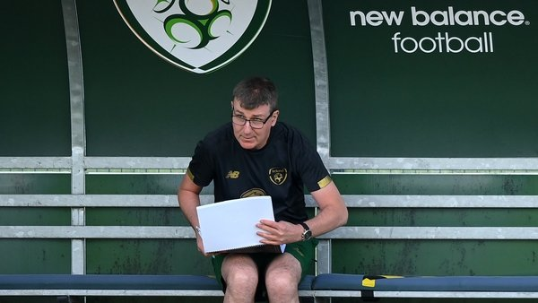 Stephen Kenny in the dugout at Republic of Ireland training this morning