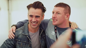 Actor Colin Farrell, Homeless Street Football ambassador, pictured with Tucker in Street Leagues