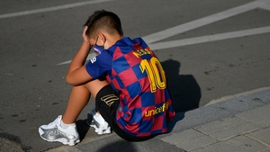 A young Barcelona fan was disappointed when Messi failed to show for a coronavirus test on Sunday