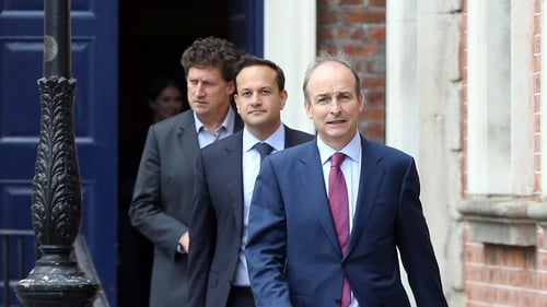Leo Varadkar, Micheál Martin and Eamon Ryan discussed the issue last night (file image)