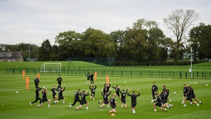 The squad training this morning at Abbotstown before flying out