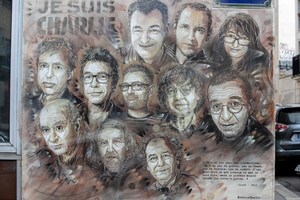 A tribute in Paris to staff members at Charlie Hebdo killed in January 2015