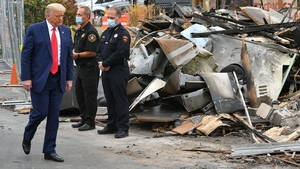 Donald Trump visits areas damaged during the protest in Kenosha