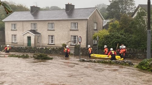 Fire service personnel respond after flooding in Clifden, Co Galway earlier this month. Photo: Galway Fire Service