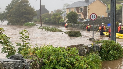 Fire service personnel have been assisting residents in parts of Clifden, as water levels there continue to rise (Pics: Galway Fire Service)