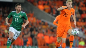 Donny van de Beek (R) playing for the Netherlands against Northern Ireland last year
