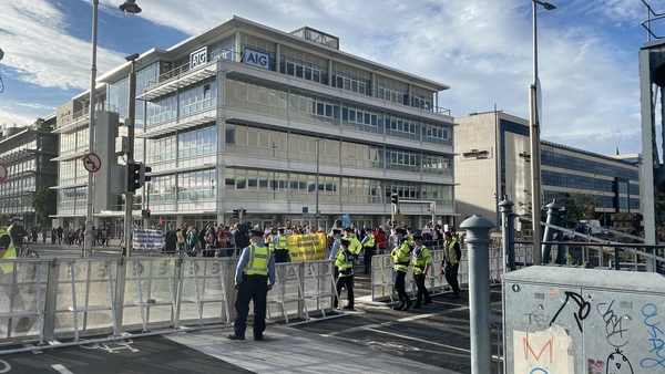 Former Debenhams workers marched from Henry Street in Dublin to the Convention Centre