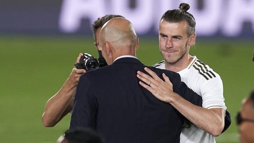 Zinedine Zidane (C) played Gareth Bale for just 100 minutes in Real Madrid's 11-game run in to winning La Liga
