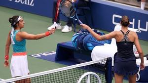 Karolina Pliskova has fallen at the second hurdle in New York