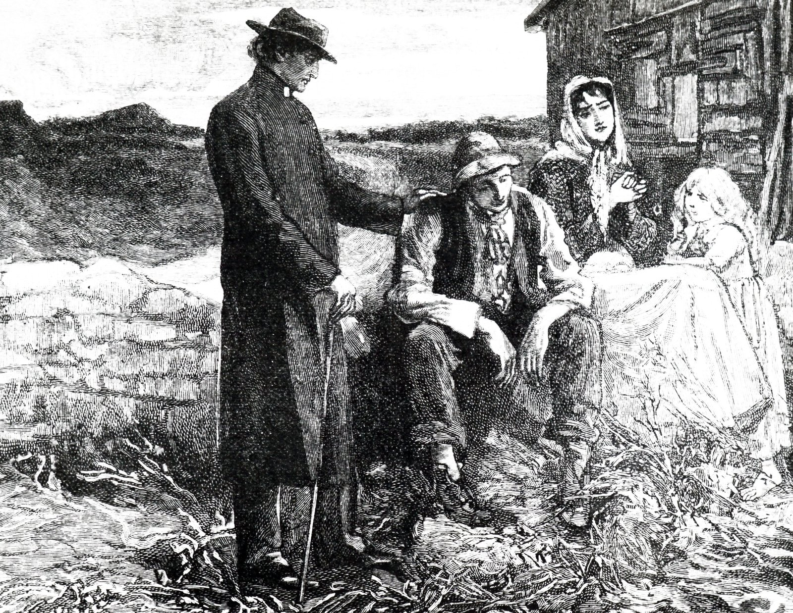 Image - An engraving depicting Father Mathew (Theobald Mathew 1790-1856) comforting a starving family during the Famine. Source: Universal History Archive/Universal Images Group via Getty Images