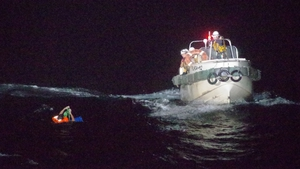 Japan's coast guard said it had rescued one crew member