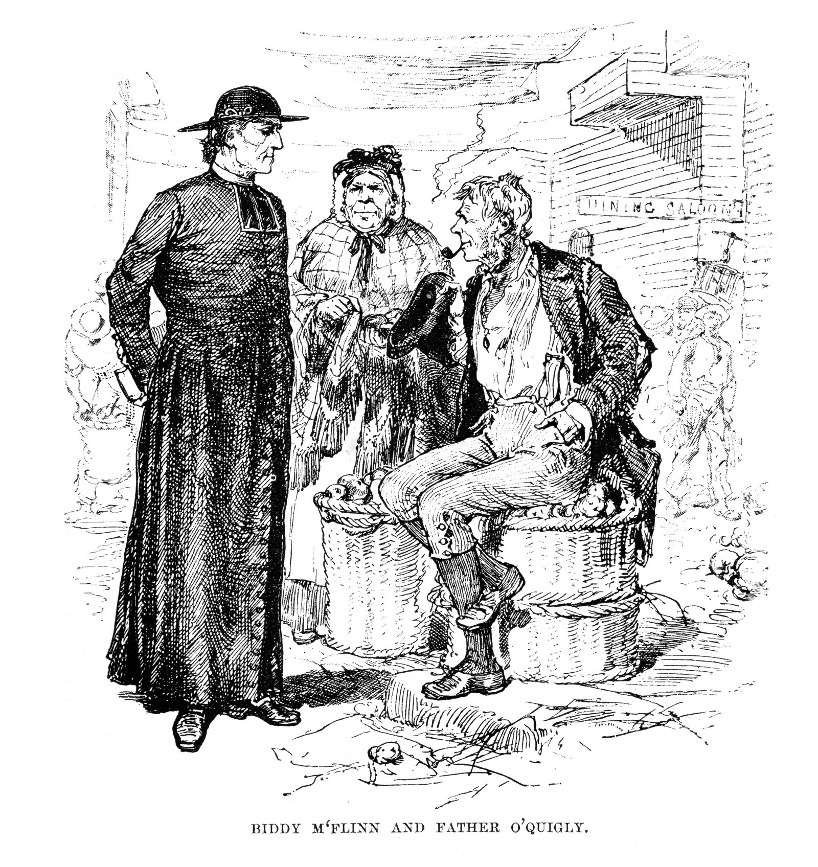 Image - An engraving of fictional Irish immigrants Biddy M'Flinn and Father O'Quigly, New York. 1882. Source: Getty Images
