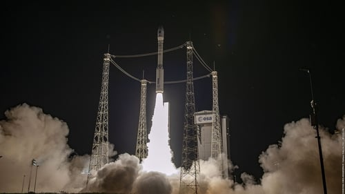 The Vega rideshare Small Spacecraft Mission Service (SSMS) dispenser taking off from Kourou (Pic: ESA)