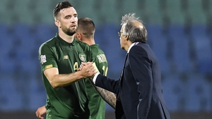 Shane Duffy (L) with Bulgaria manager Georgi Dermendzhiev at the final whistle