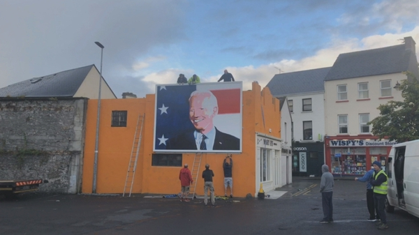 The painting was completed by local artists Padraig 'Smiler' Mitchell and Leslie Lackey