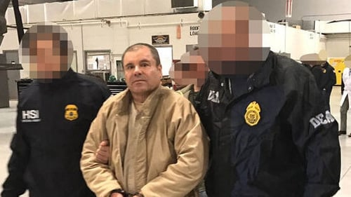 Joaquin 'El Chapo' Guzman being extradited to the United States in 2017 (file pic)