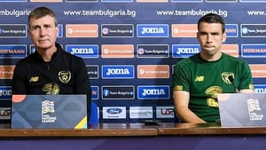 Seamus Coleman sits alongside the manager in Bulgaria ahead of the game in which he would not start