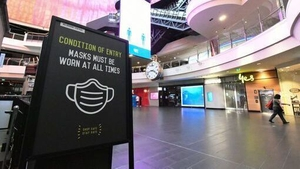 A sign inside Melbourne Central Shopping Centre - the city will endure a strict lockdown until at least 28 September