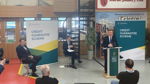 Minister Michael McGrath speaking at the launch of the Credit Guarantee Scheme at Burke Joinery in Dublin