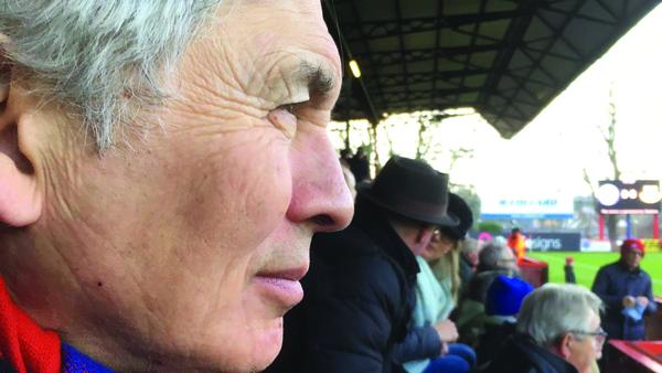David Kynaston at an Aldershot game (Photo Lucy Kynaston)