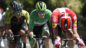 Sam Bennett (C)wearing the green jersey during this year's Tour de France