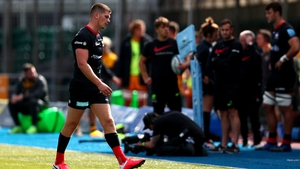 Owen Farrell leaves the field of play after being sent off