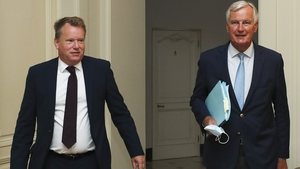 David Frost (L) and Michel Barnier (R) pictured in Brussels in August
