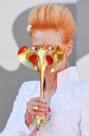 Tilda Swinton in Chanel and James Merry. Photo: Getty