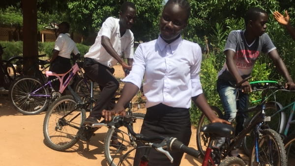 The bicycles are refurbished and sent to school children in The Gambia