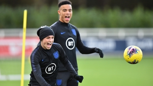 Phil Foden and Mason Greenwood have a lark while training with the England U-21s last November