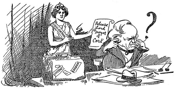 Cartoon on the international pressure to release Terence MacSwiney Photo: Sunday Independent, 12 September 1920