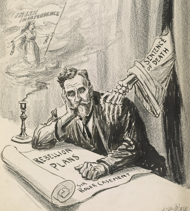 """Cartoon shows a skeletal hand (labeled 'Sentence of Death') on the shoulder of Sir Roger Casement who holds a document labeled 'Rebellion Plans' and dreams of """"Irish Independence."""" Photo: Library of Congress"""