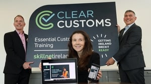 Paul Healy and Tracey Donnery of Skillnet Ireland and Mick Curran of CILT Skillnet, at the launch of Clear Customs