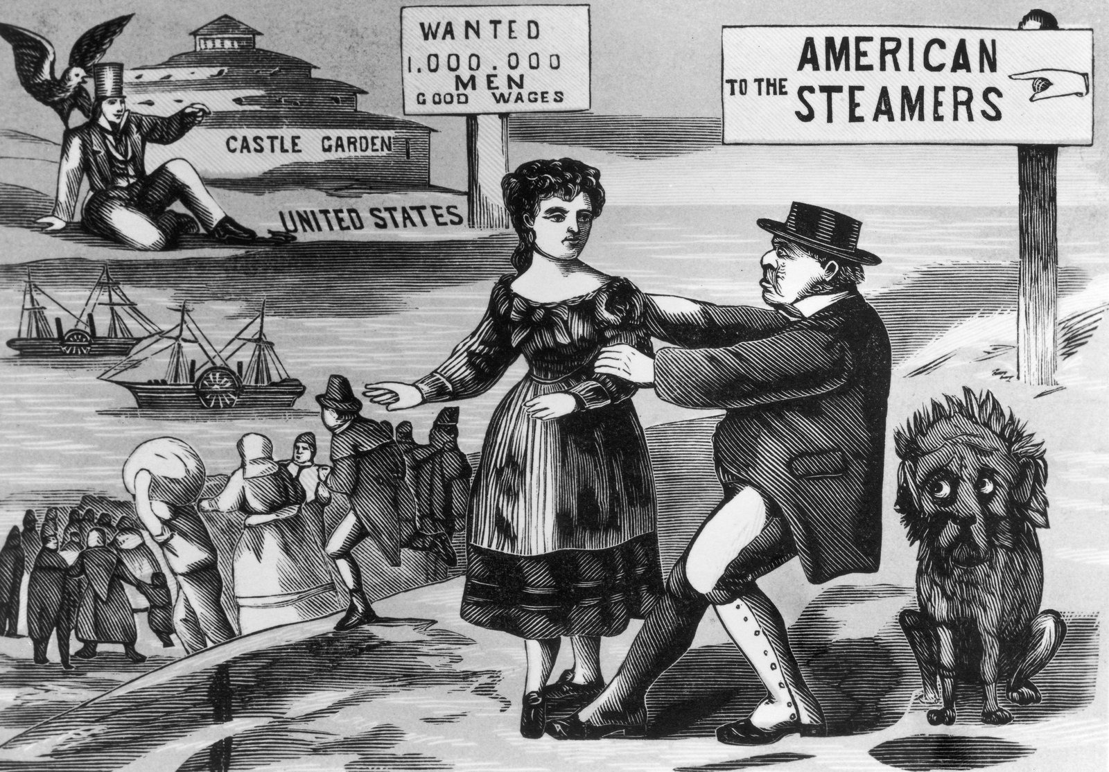 Image - An Irish man tries to restrain a woman tempted by a new life in the USA in this circa 1855 engraving. Source: Fotosearch/Getty Images