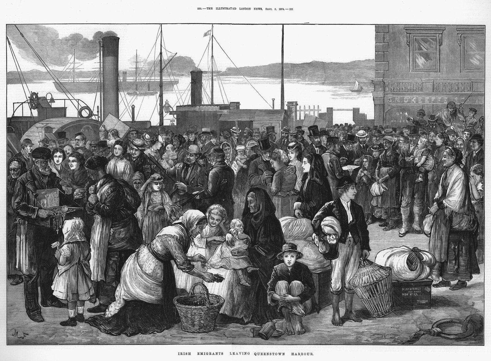 Image - Irish emigrants leaving Queenstown (Cobh), the port for Cork, for the United States, 1874. Some are buying last-minute trinkets and good luck tokens. Source: Ann Ronan Pictures/Print Collector/Getty Images