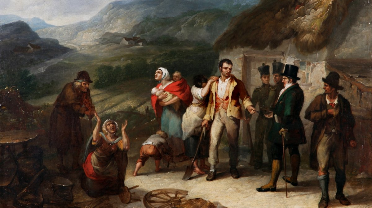 Daniel Macdonald's painting The Eviction, 1850. Collection Crawford Art Gallery Cork