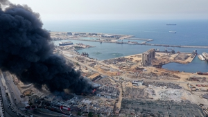 The fire erupted in the duty-free zone of Beirut port