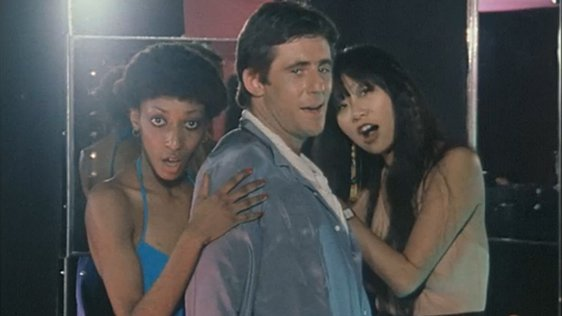 Pandora Moore, Gabriel Byrne and May Pang, 1980.