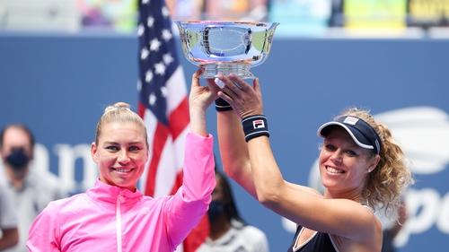 (L-R) Vera Zvonareva of Russia and Laura Siegemund of Germany celebrate winning the final