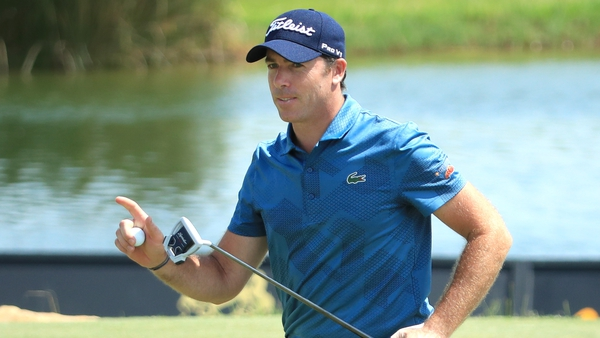Julien Guerrier of France reacts on the 18th green