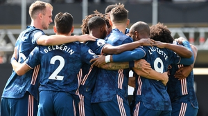 Arsenal celebrate Alexandre Lacazette's opening goal