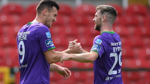 Jack Byrne congratulates goalscorer Aaron Greene
