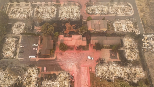 A drone photo shows some structures destroyed by wildfire in Talent, Oregon