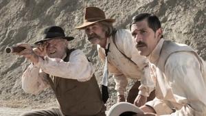(L-R) Richard Jenkins, Kurt Russell and Matthew Fox in Bone Tomahawk