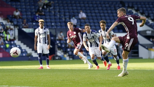 Jamie Vardy dispatches a penalty in the victory at The Hawthorns