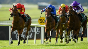 Thunder Moon, left, with Declan McDonogh up, races clear of the field